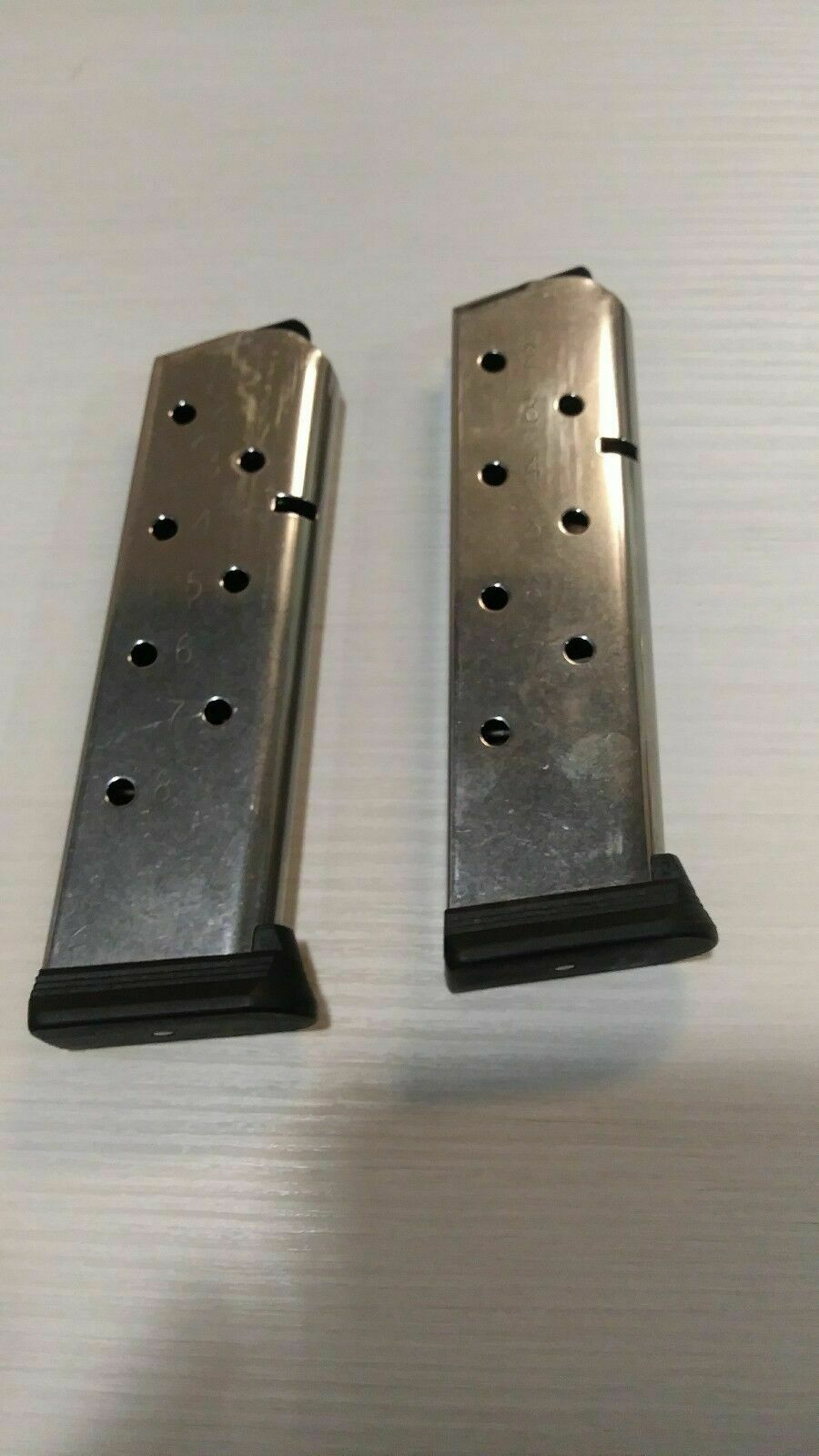 Pair of Checkmate 1911 magazines 45 acp 8rd extended body ETM -- mag #57